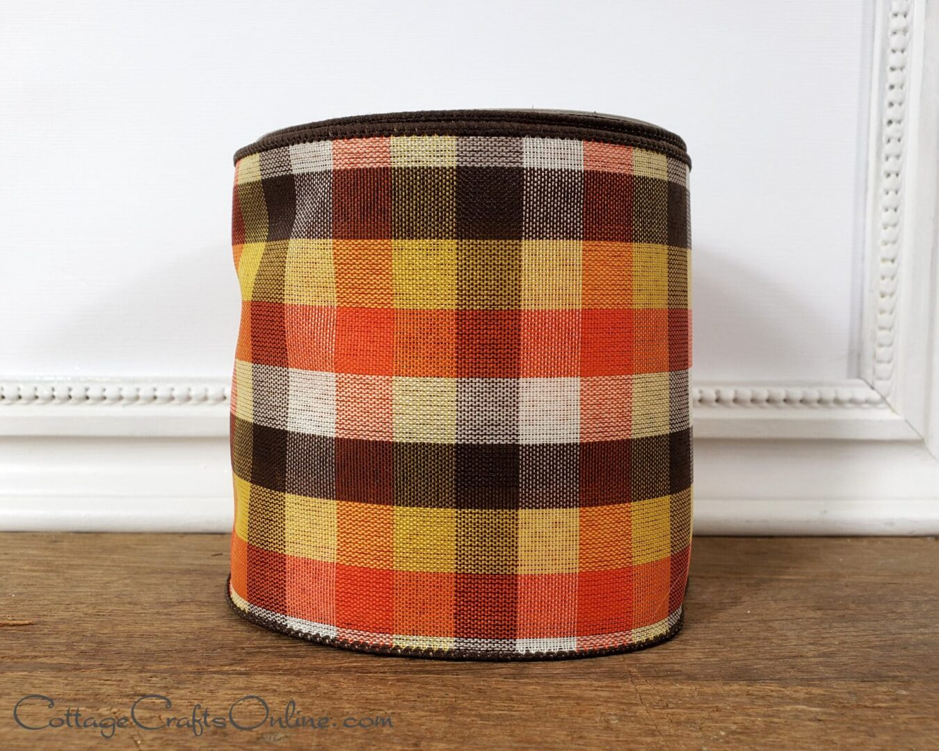fall bold check candy corn orange yellow brown ivory ds 100-005